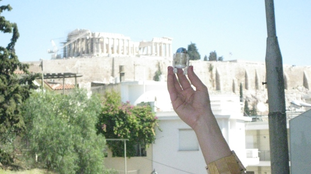 Acropolis view from our hotel with R2D2.