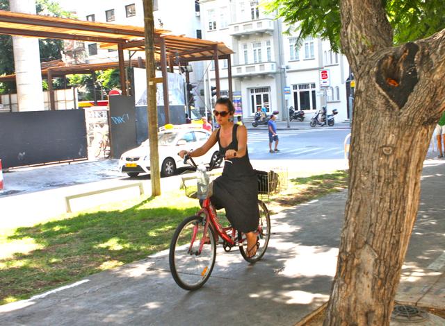 Cyclist in Tel Aviv.