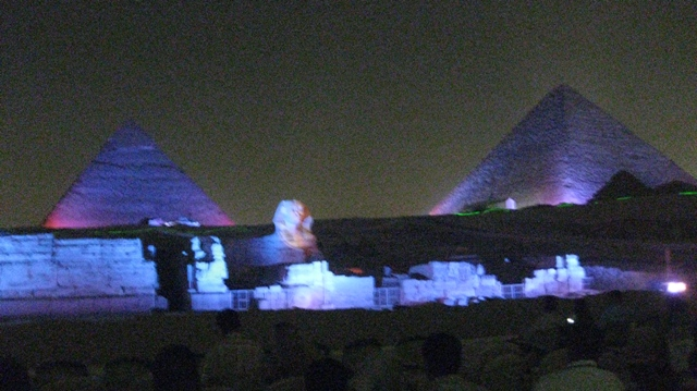 Cheops, Chepren, and the Sphinx the night we saw them and the light show.