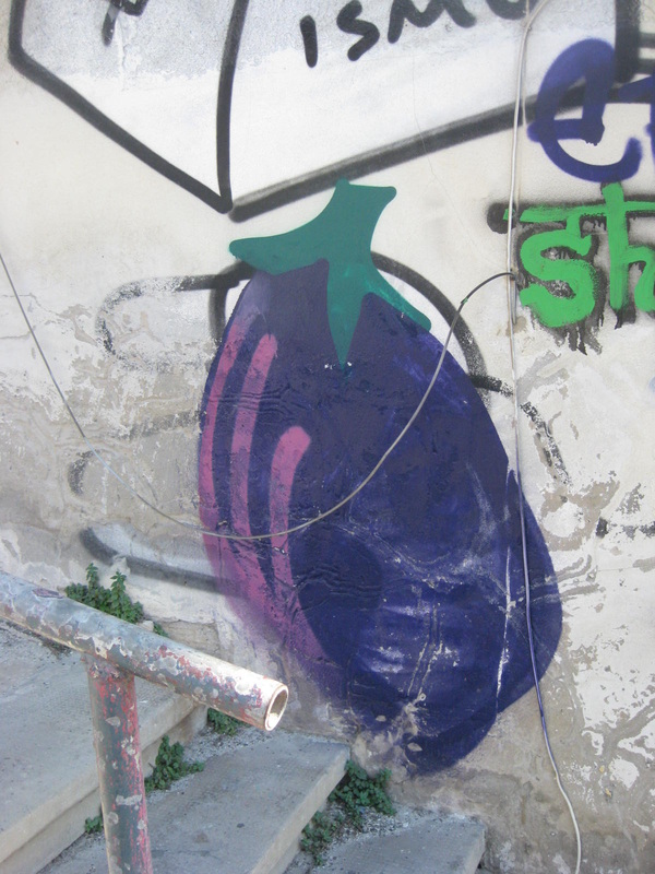 Eggplant graffiti in Tel Aviv.