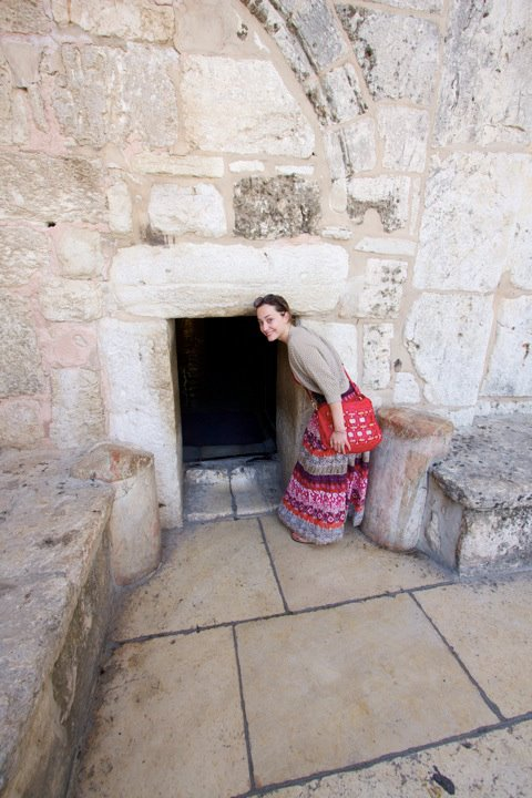 Entering the little door to the Church of the Nativity in Bethlehem. It had to be shrunk to hobbit size to make it harder for invading armies to enter.