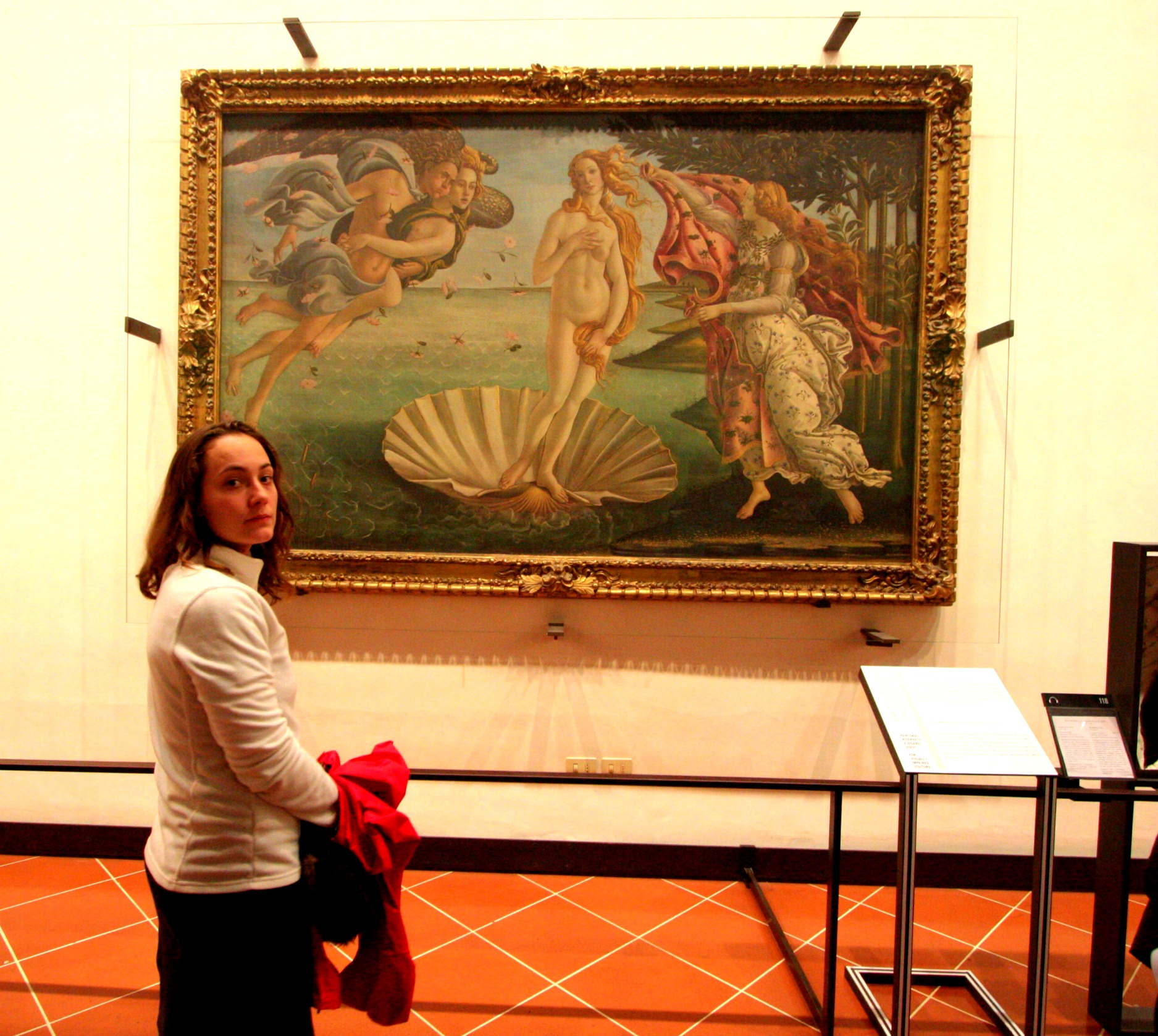 "Trying to enjoy Botticelli while employing my best ""back off"" face."