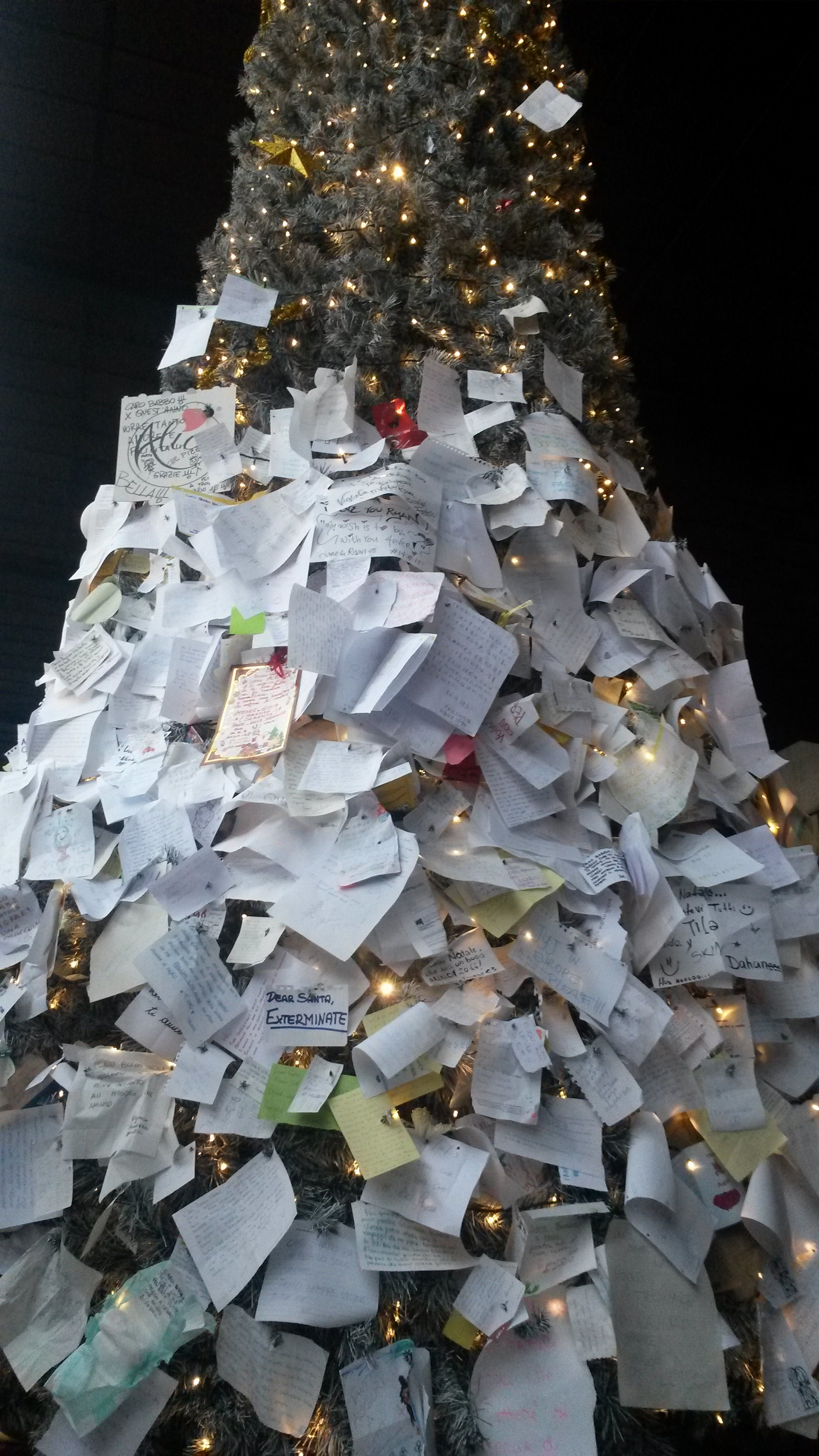 A Christmas tree in Italy covered with wishes.