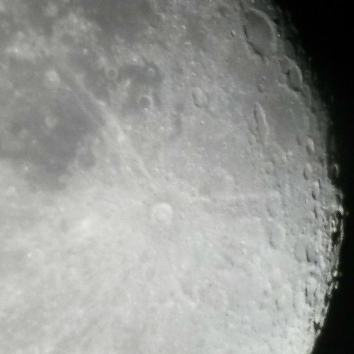 The edge of the moon viewed through a telescope on July 28, 2015.