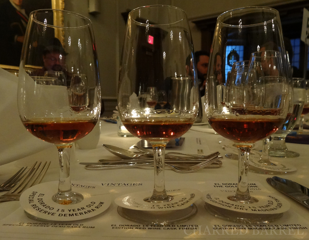 First three rums. From left to right: 15 Year Old, 15 Year Old Red Wine Cask, 15 Year Old Dry Madeira Wine Cask