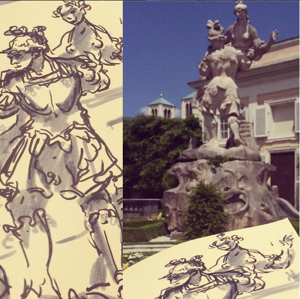 Art imitating life in Salzburg, Austria.