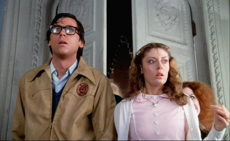 Barry Bostwick and Susan Sarandon star as the innocent young couple Brad and Janet in  The Rocky Horror Picture Show.