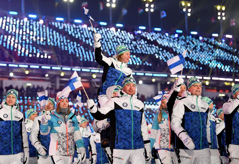 Finnish athletes during opening ceremony.