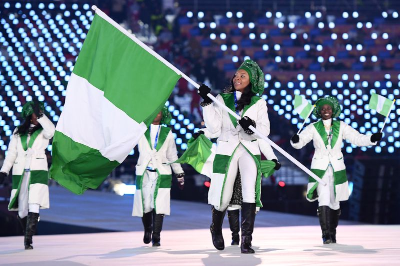 Nigerian athletes during opening ceremony.