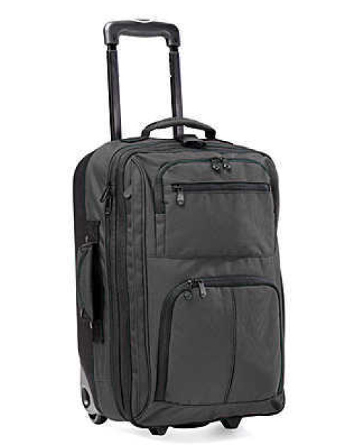 RICK STEVES EUROPE ROLLING CARRY-ON BAG  This roller bag is the perfect size--allowing me to take just what I need and still easily fitting in even the smallest Euro overhead bins. You'll have to be disciplined for extended trips, but it's doable!