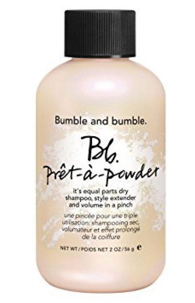 BUMBLE & BUMBLE DRY SHAMPOO   Dry shampoo is a great way to keep your hair looking and smelling fresh when you travel without needing to shampoo every day but most of the best ones are aeresol and the travel sizes run out within a week. This one is great because it's a powder and it has a hair volumizer in it as well to keep you looking your best.