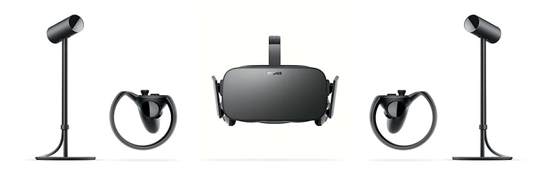 The  Oculus Rift  is a virtual reality system that completely immerses you inside virtual worlds.