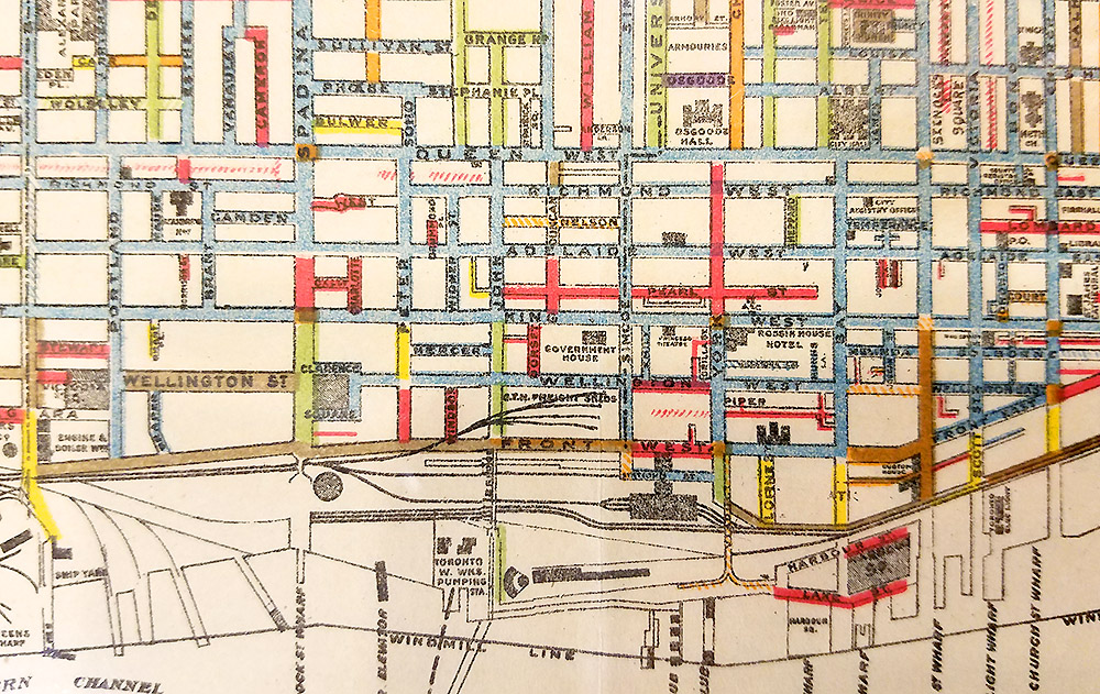 """Plan of the City of Toronto,"" 1909, using color and hatching to show different types of pavement.  ( Toronto Reference Library)"