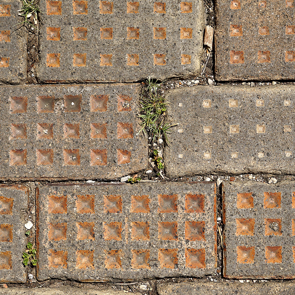 Oversized Vitrified Brick - yellow, waffle pattern