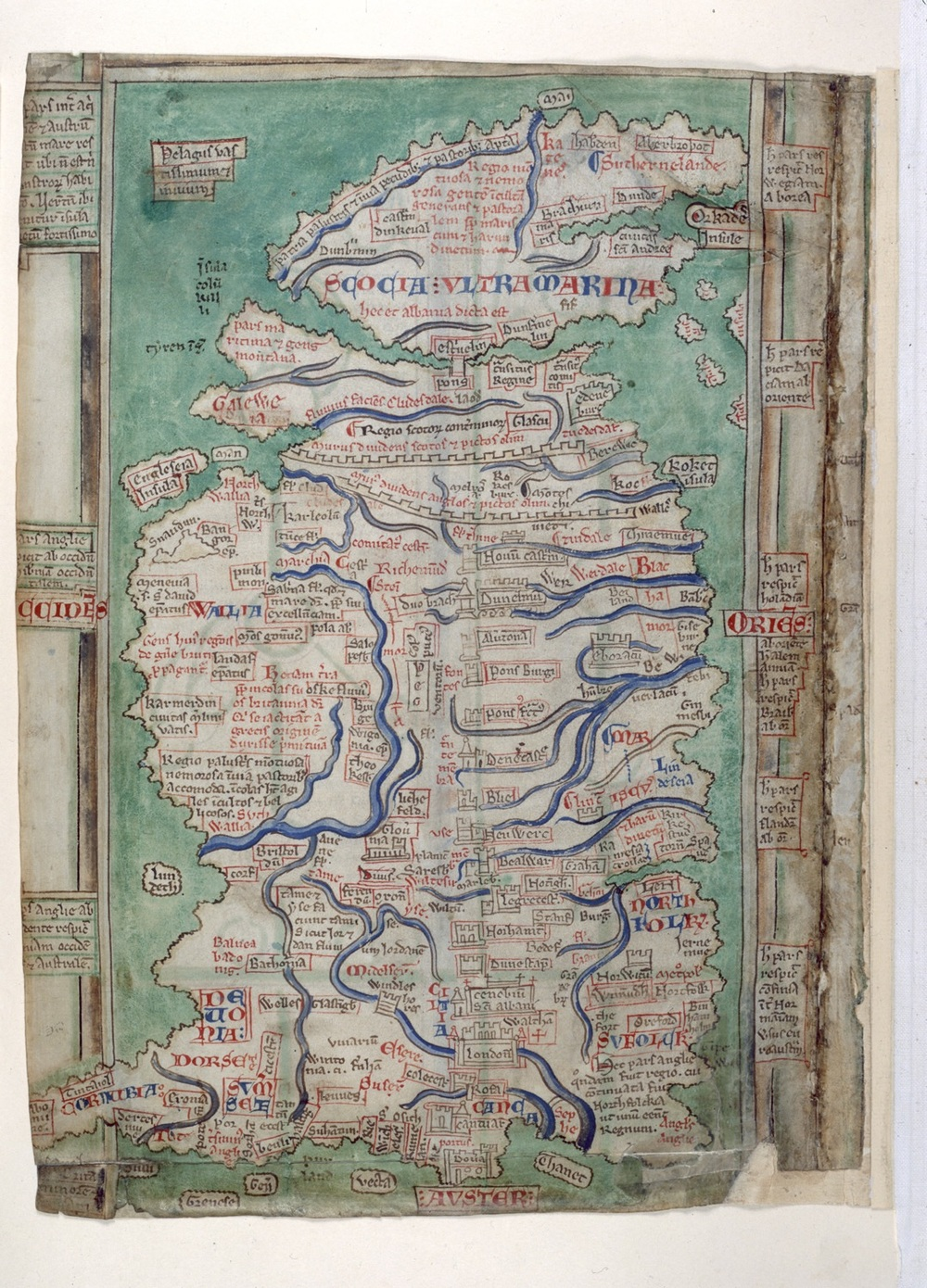 A medieval map of Britain from the manuscript of the  Abbreviatio Chronicorum  of Matthew Paris, dating from the 1250s.