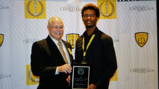 Mike Wilson Mike is a Freshmen WR at LBCC who tore it up on the gridiron in his first season! His stellar season earned him the Century Club's LBCC Male Athlete of the Year award. Great way to start your JC career if you ask me. If he keeps up this level of play you will see him at that signing day table next year!