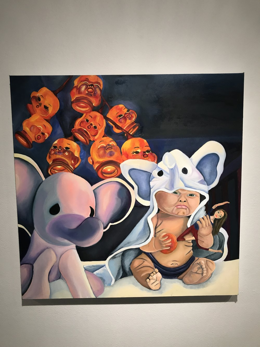 White Elephant, Oil on canvas, Created by Muneerah De La Pena