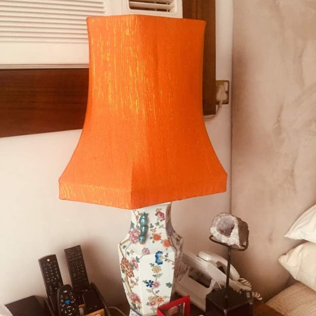 It was hard to let this orange aso oke lamp go but the reward is seeing it perfectly perched on that beautiful lamp base.  We love!!! 😍 😍 😍 😍  #CaxtonAlileLiving #Design #lighting #lightingdesign