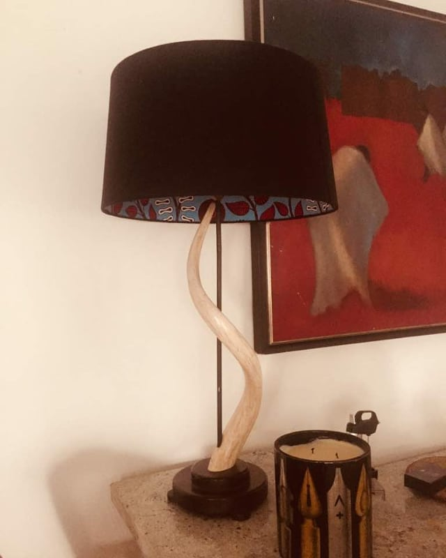 The reverse Ankara bulb lampshade is a star in one of our client's homes. 😍😍😍😍 Don't forget to place your order now ahead of the valentine's day rush. You can customize all those sweet words of love you'd like to tell your significant other on a lamp for them.  #CaxtonAlileLiving #Design #lighting #lightingdesign