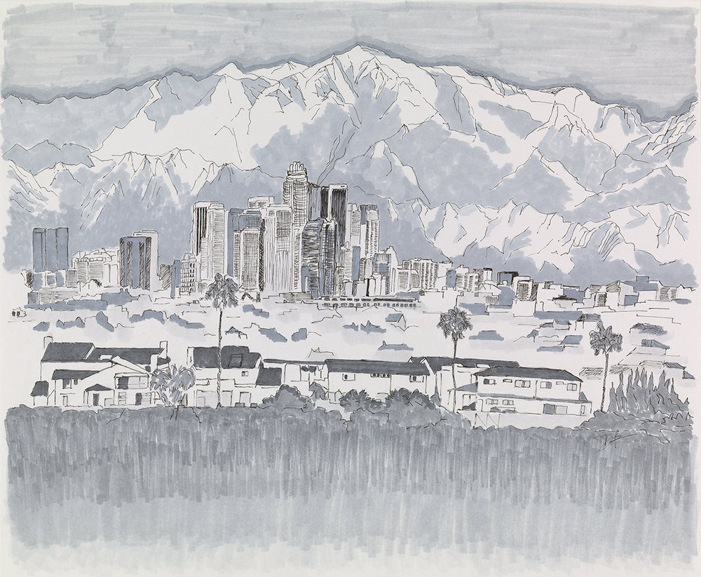 """Downtown Los Angeles  Mixed media on 14"""" x 17"""" mixed media paper (2017)."""