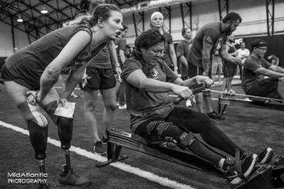 - CAF sponsored my trip to compete at the 2017 Working Wounded Games in Washington D.C. alongside adaptive athletes all around the world completing crossfit Workout of the Day (WOD) movements. Here I am finishing my first WOD with major encouragement from one of the judges and volunteers!