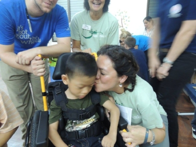 Wheels for the World Thailand Outreach 2015 - this little guy was the last recipient that we fitted for a wheelchair.
