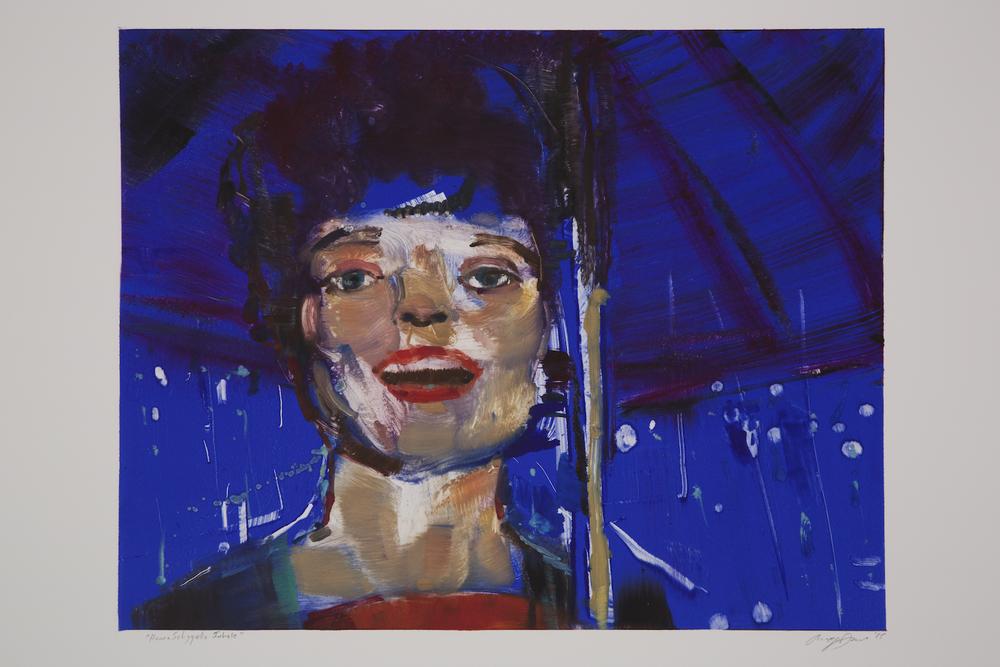 """Angela Dufresne   """"Hanna Schygulla Inhale"""" 2015. Monotype. 22 x 30"""""""