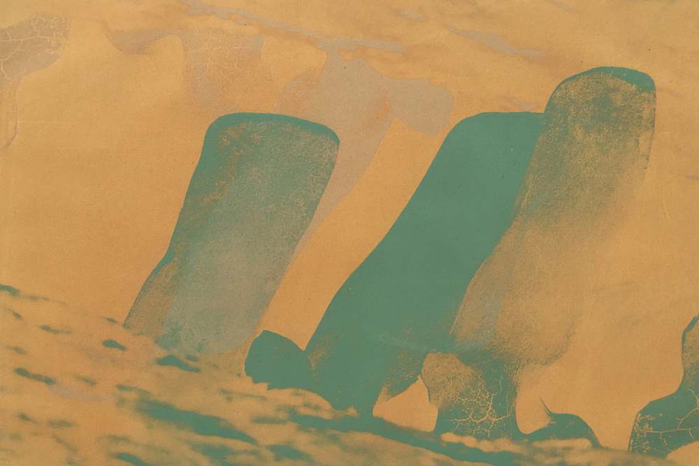 "Noel Harvey   ""Yellow and Sea Foam Whale Bones"" 2010. Solar Plate Monotype. 18 x 24"""