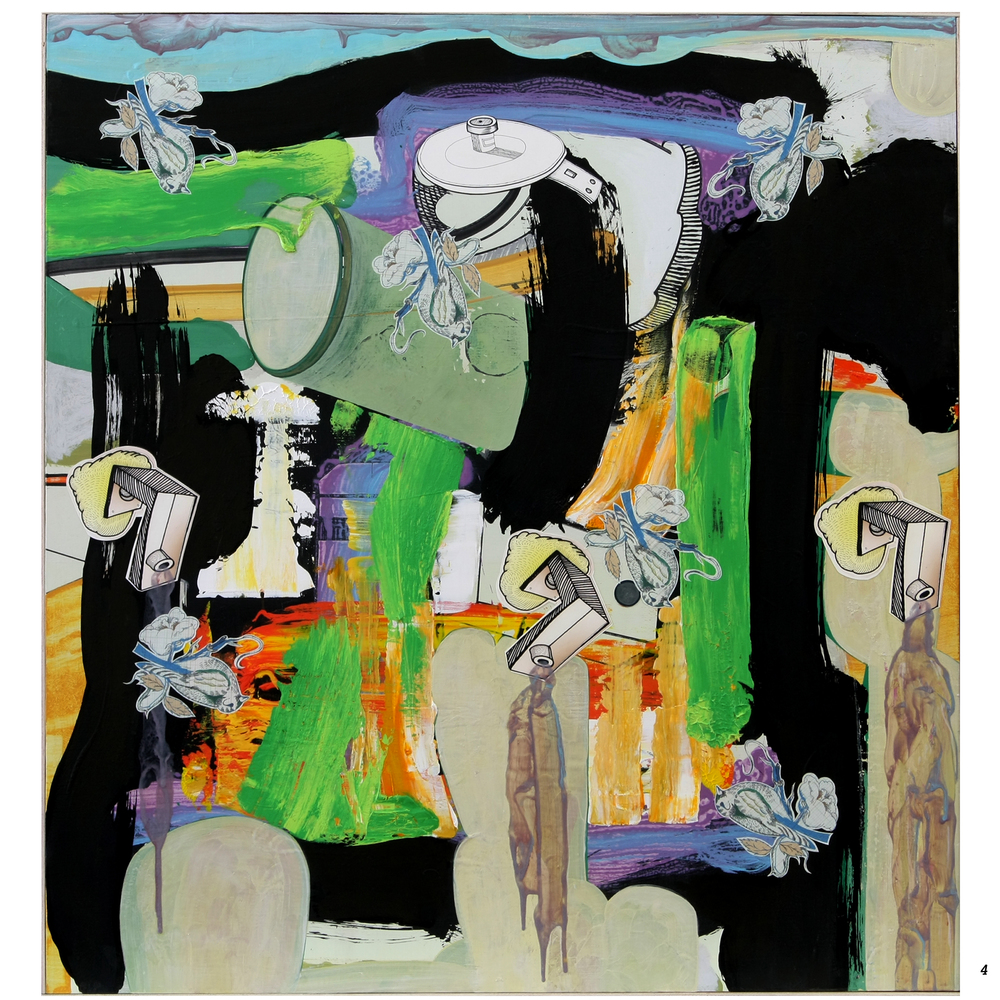 "Agustin Pozo   ""Critical Mass"" 2014. Acrylic and Guache, Digital Digital image print. 47 3/8 x 44 3/8"""