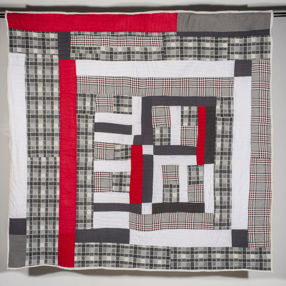 "Mary Lee Bendolph ""Houndstooth"" 2003. Quilted Fabric. 78 x 80"""