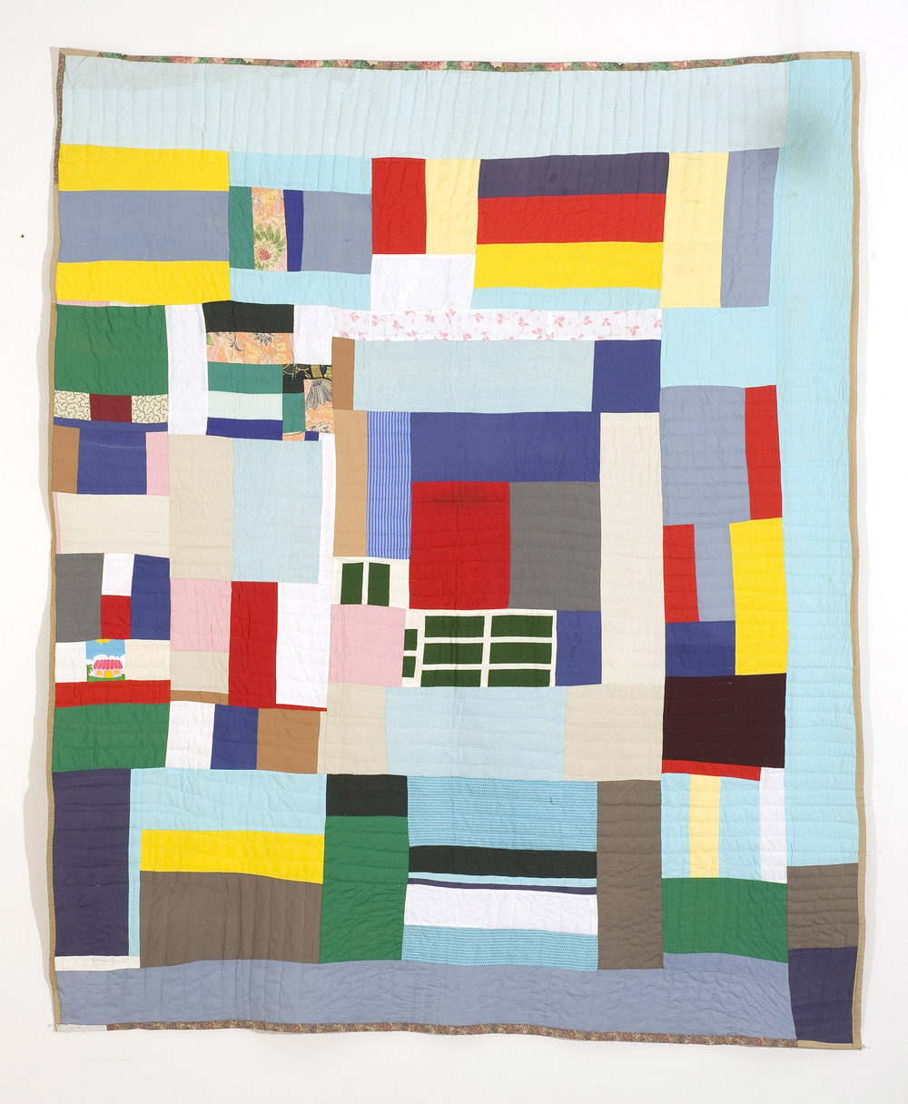 "Mary Lee Bendolph ""Housetop Variation"" 2002. Quilted Fabric. 93 x 76"""