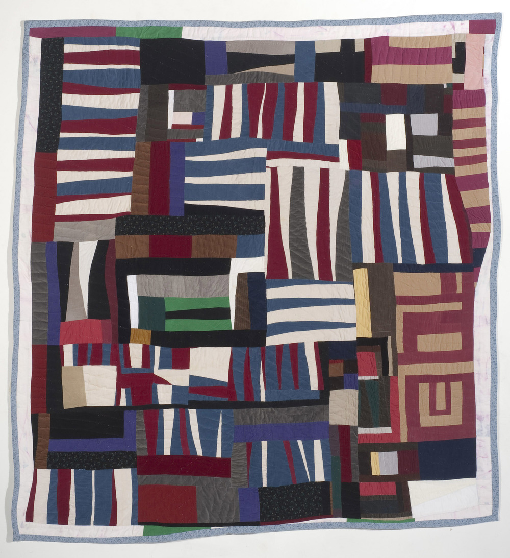 "Mary Lee Bendolph ""Untitled"" 2009. Quilted Fabric. 86 x 82"""