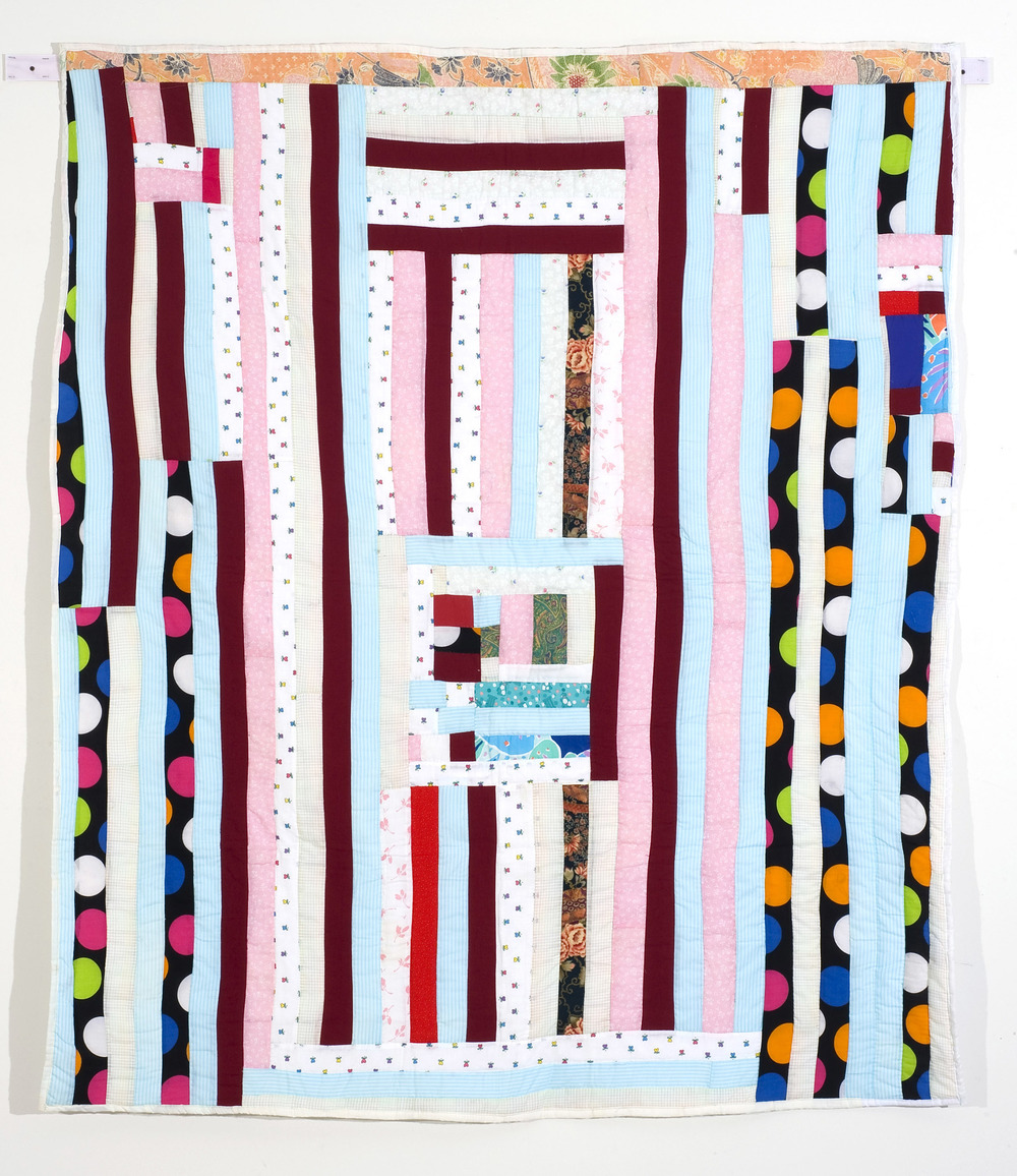 "Mary Lee Bendolph ""Strips with Housetop Medallion"" 2003. Quilted Fabric. 80 x 69"""