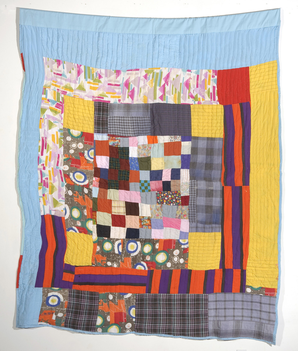 "Mary Lee Bendolph ""Housetop Variation"" circa 1980. Quilted Fabric. 83 x 72"""