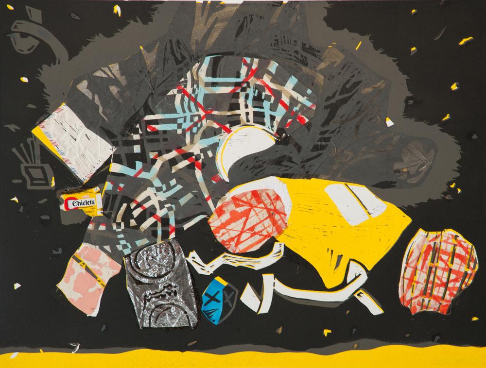 "Erica Svec Dean Street, 2012 Woodblock Series 22 x 30"""