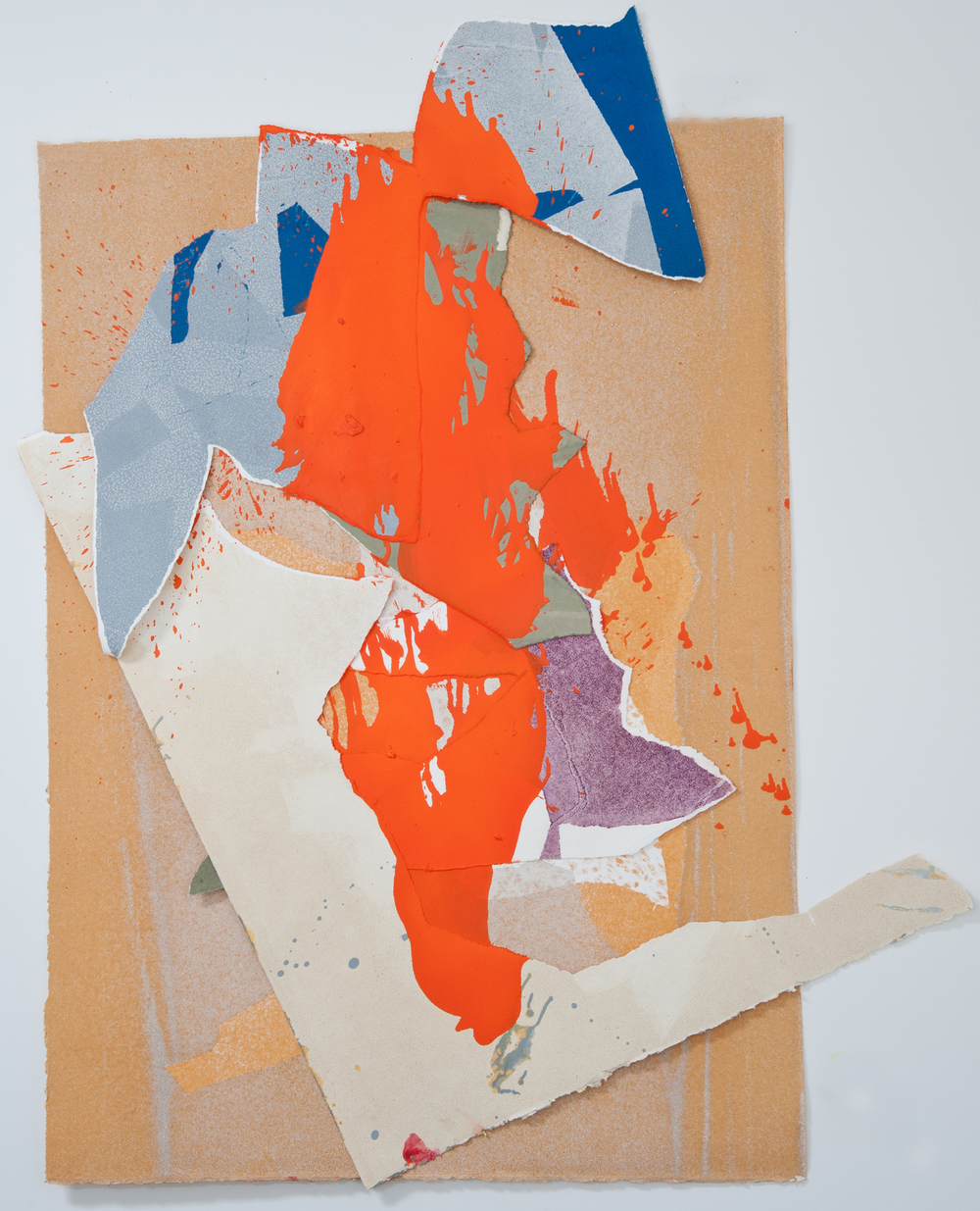 "Kay Harvey ""About Ice Series 8"" 2013. Collage, Oil on Paper. 44 x 34 x 9"""