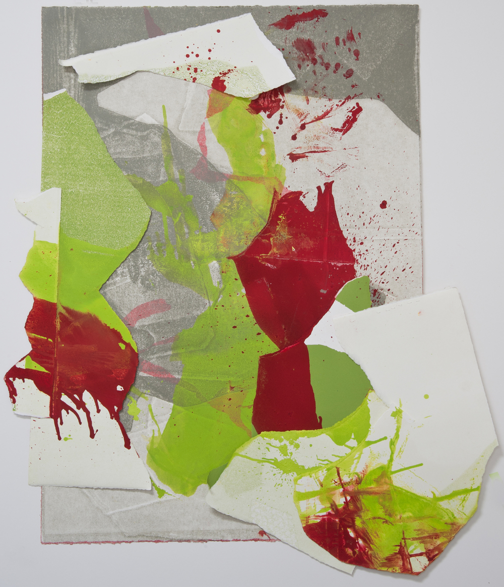 "Kay Harvey ""About Ice Series 7"" 2013. Collage, Oil on Paper. 46 x 39"""