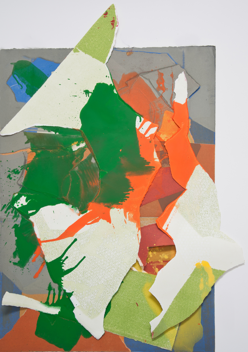 "Kay Harvey ""About Ice Series 6"" 2013. Collage, Oil on Paper. 47 x 35 x 2"""
