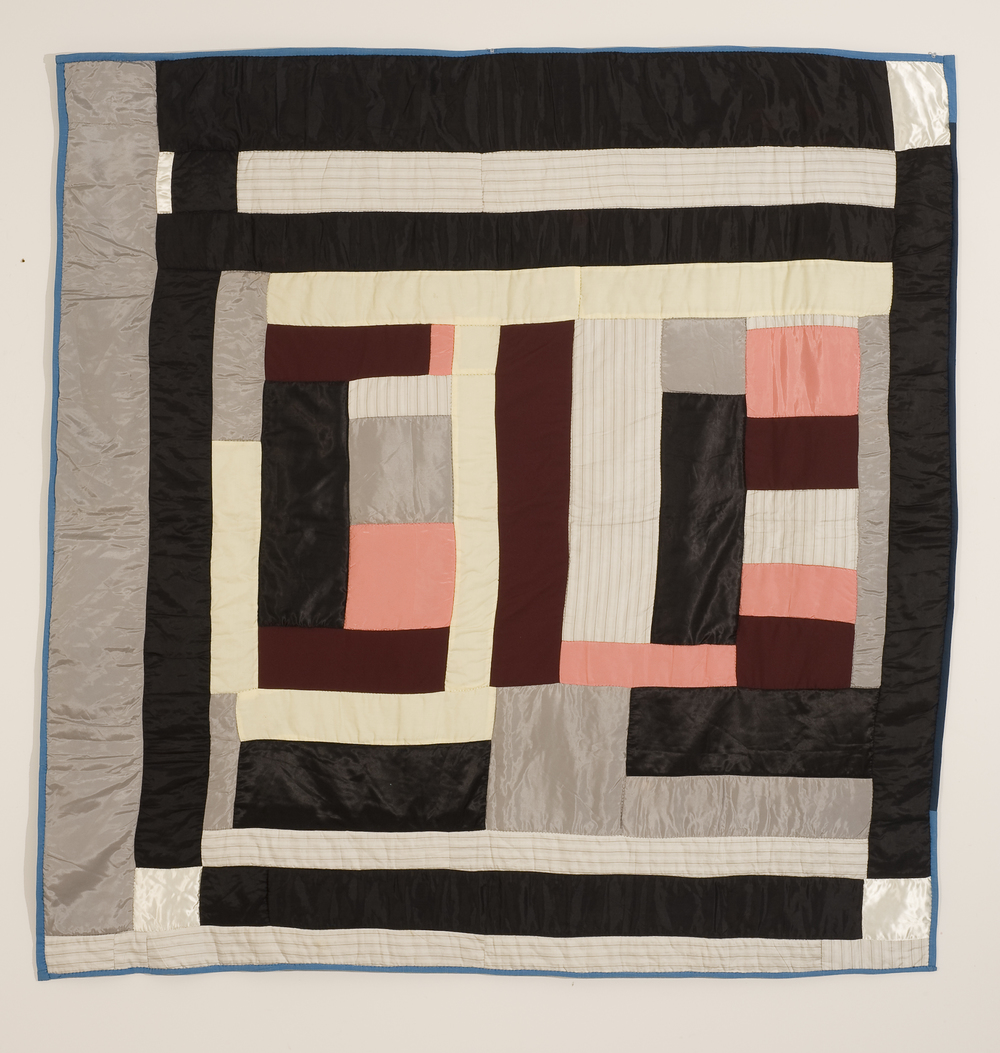 "Mary Lee Bendolph ""Housetop Variation"" 2007. Quilted Fabric. 80 x 80"""