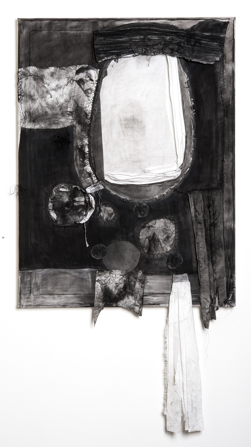 "Rebekah Potter ""Silence is the Container of Sound"" 2013. Charcoal, Textiles, Acrylic, Thread. 48 x 36"""