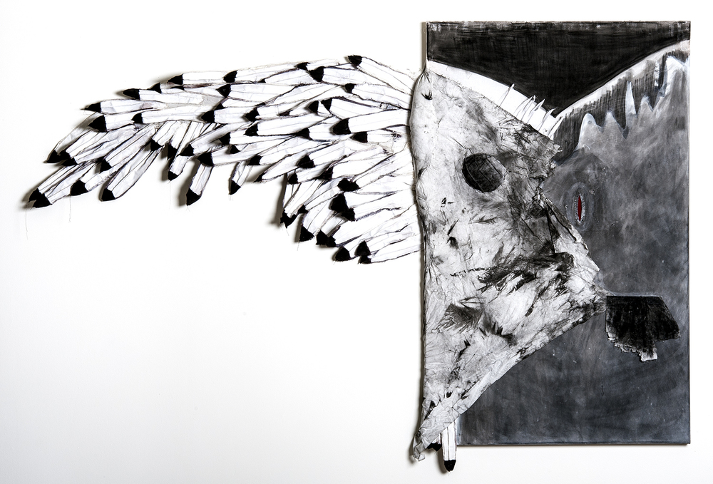 "Rebekah Potter ""Icarus Revisited"" 2013. Charcoal, Textiles, Acrylic, Poly Fill, Thread. 58 x 90"""