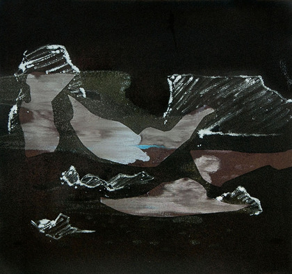 Kay Harvey Falling Towers, Iceberg Series I, 2008, 31 x 33 inches, Monotype, Oil on Paper