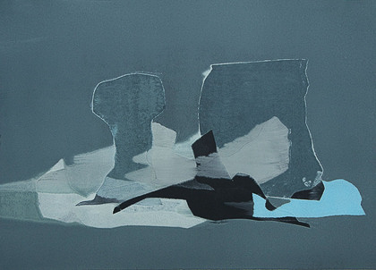 Kay Harvey Under the Brown Fog, Iceberg Series I, 2008, 30.25 x 42.75 inches, Monotype, Oil on Paper