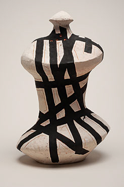 "Nino Caruso The Strips Man , 2009  terra cotta, white slip , acrylic 23""h x 16.5"" w x 9.75 "" d"