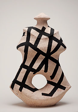 "Nino Caruso  The Strips Lady , 2009, terra cotta, white slip, acrylic, 20.5""h x 14.5""w x 9.5"" d"