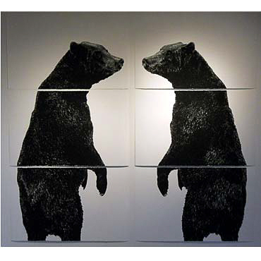 """Wesley Berg Two Bears, 2011, 93"""" x 100"""", charcoal on paper"""