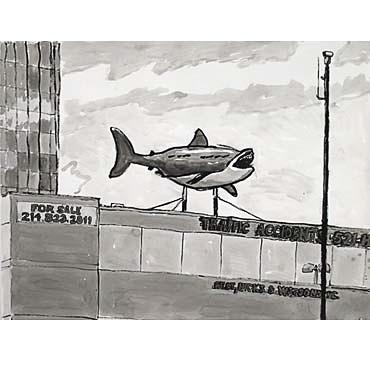 "Peter Ligon, Shark on Roof, 2005, 38"" x 50"", ink on paper"
