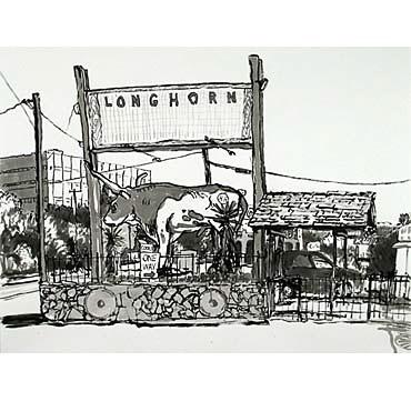 "Peter Ligon Longhorn, 2005, 38"" x 50"", ink on paper"