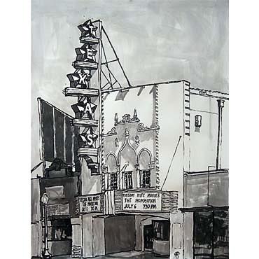 "Peter Ligon Texas Theater, 2010, 50"" x 36"", ink on paper"