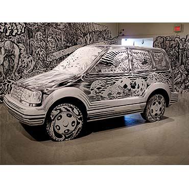 """Larry Bob Phillips Cartoon (study), 2011, 11"""" x 11"""" x 25"""", wood, foam, plaster, paint"""